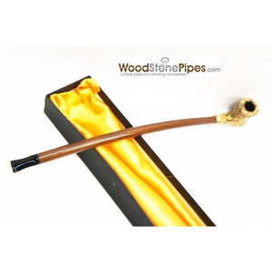 "Extra Long Churchwarden Tobacco Pipe - 15"" Snake Skin Pattern Design Wizard Pipe - WoodStonePipes.com   - 12"