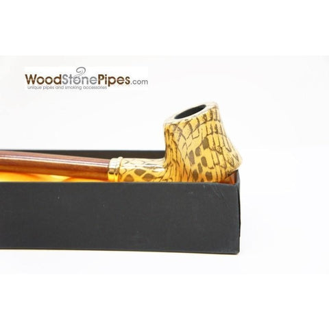 "Extra Long Churchwarden Tobacco Pipe - 15"" Snake Skin Pattern Design Wizard Pipe - WoodStonePipes.com   - 13"