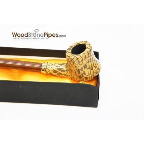 "Extra Long Churchwarden Tobacco Pipe - 15"" Snake Skin Pattern Design Wizard Pipe - WoodStonePipes.com   - 14"