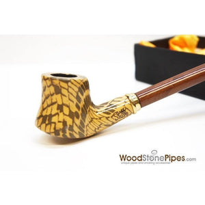 "Extra Long Churchwarden Tobacco Pipe - 15"" Snake Skin Pattern Design Wizard Pipe - WoodStonePipes.com   - 2"