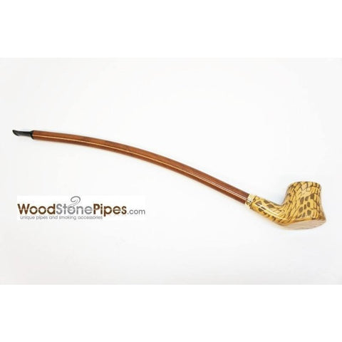 "Extra Long Churchwarden Tobacco Pipe - 15"" Snake Skin Pattern Design Wizard Pipe - WoodStonePipes.com   - 3"