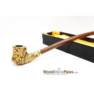 "Extra Long Churchwarden Tobacco Pipe - 15"" Snake Skin Pattern Design Wizard Pipe - WoodStonePipes.com   - 4"
