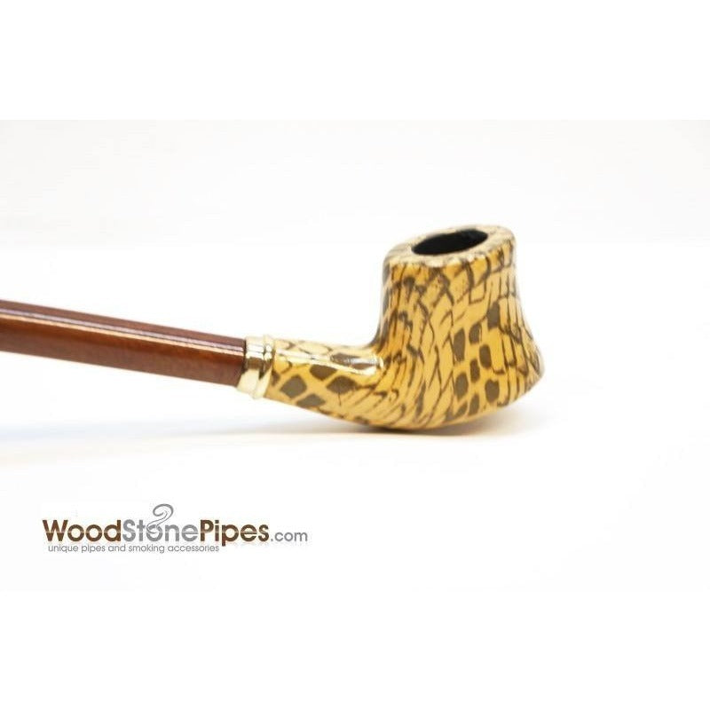 "Extra Long Churchwarden Tobacco Pipe - 15"" Snake Skin Pattern Design Wizard Pipe - WoodStonePipes.com   - 6"