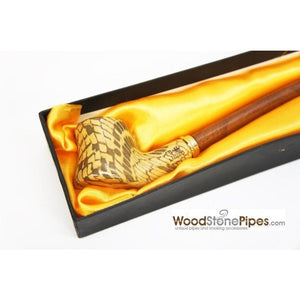 "Extra Long Churchwarden Tobacco Pipe - 15"" Snake Skin Pattern Design Wizard Pipe - WoodStonePipes.com   - 8"
