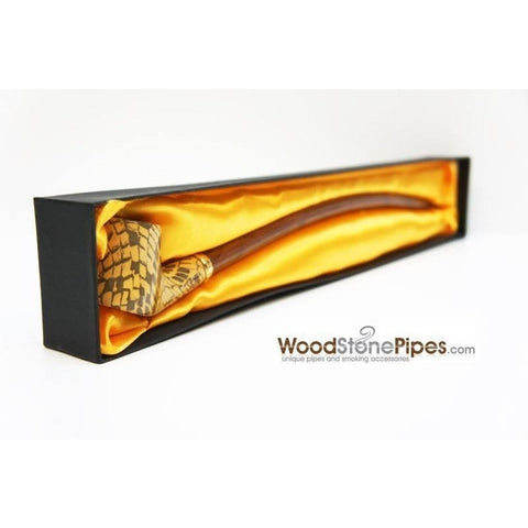 "Extra Long Churchwarden Tobacco Pipe - 15"" Snake Skin Pattern Design Wizard Pipe - WoodStonePipes.com   - 9"
