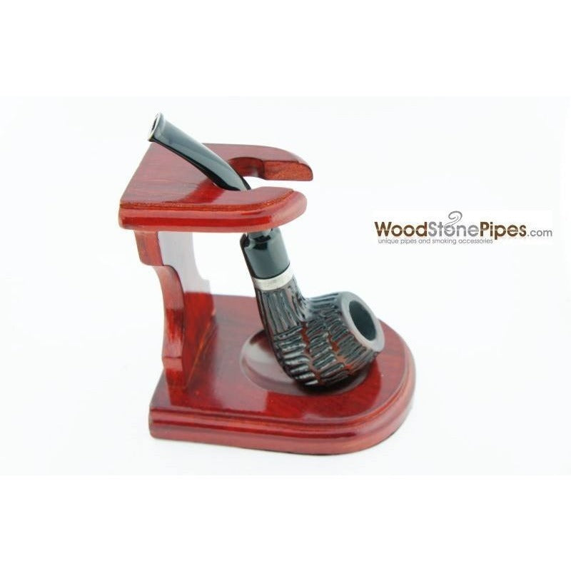 "3""x4"" Decorative Pipe™ Rosewood Pipe Stand (Holds one pipe) - WoodStonePipes.com   - 2"
