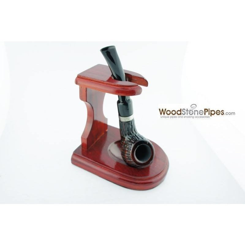 "3""x4"" Decorative Pipe™ Rosewood Pipe Stand (Holds one pipe) - WoodStonePipes.com   - 5"