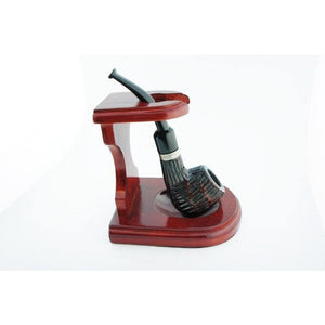 "3""x4"" Decorative Pipe™ Rosewood Pipe Stand (Holds one pipe) - WoodStonePipes.com   - 6"