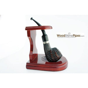 "3""x4"" Decorative Pipe™ Rosewood Pipe Stand (Holds one pipe) - WoodStonePipes.com   - 7"