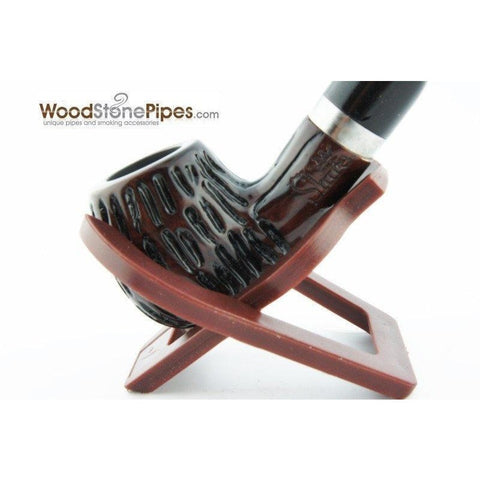 "5"" Engraved Rosewood Bent Apple Tobacco Smoking Pipe with Charcoal Filter"