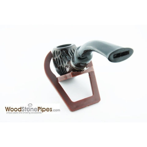"5"" Engraved Rosewood Bent Apple Tobacco Smoking Pipe with Charcoal Filter - WoodStonePipes.com   - 4"