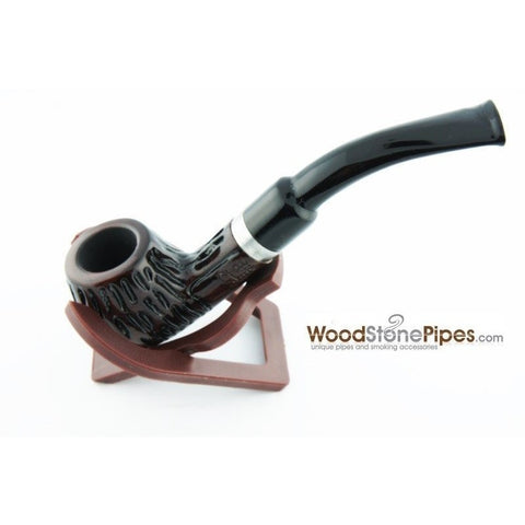 "5"" Engraved Rosewood Bent Apple Tobacco Smoking Pipe with Charcoal Filter - WoodStonePipes.com   - 5"