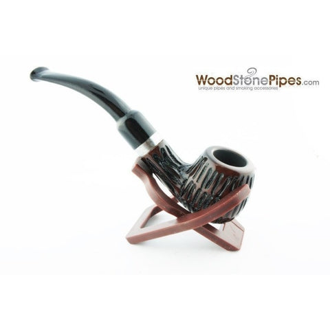 "5"" Engraved Rosewood Bent Apple Tobacco Smoking Pipe with Charcoal Filter - WoodStonePipes.com   - 6"