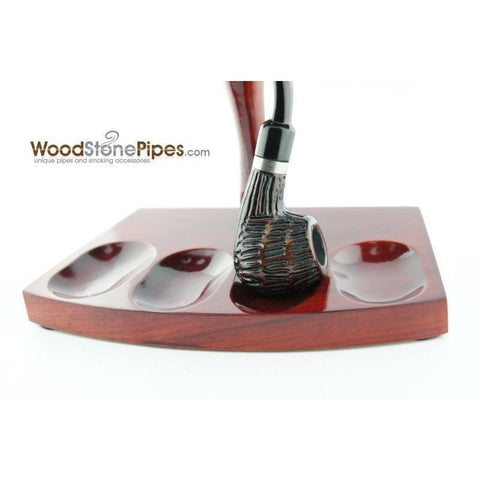 "7.5""x5"" Shire Pipe™ Rosewood Pipe Stand (Holds four pipes) - WoodStonePipes.com   - 3"