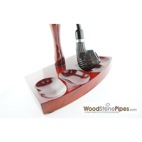 "7.5""x5"" Shire Pipe™ Rosewood Pipe Stand (Holds four pipes) - WoodStonePipes.com   - 5"