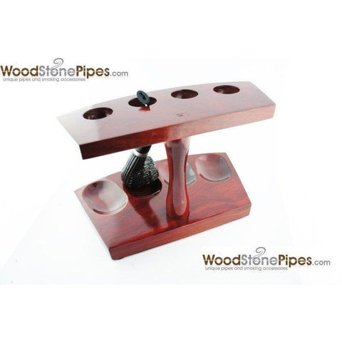 "7.5""x5"" Shire Pipe™ Rosewood Pipe Stand (Holds four pipes) - WoodStonePipes.com   - 6"