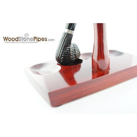 "7.5""x5"" Shire Pipe™ Rosewood Pipe Stand (Holds four pipes) - WoodStonePipes.com   - 7"