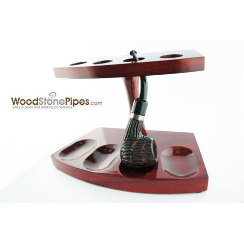 "7.5""x5"" Shire Pipe™ Rosewood Pipe Stand (Holds four pipes) - WoodStonePipes.com   - 8"