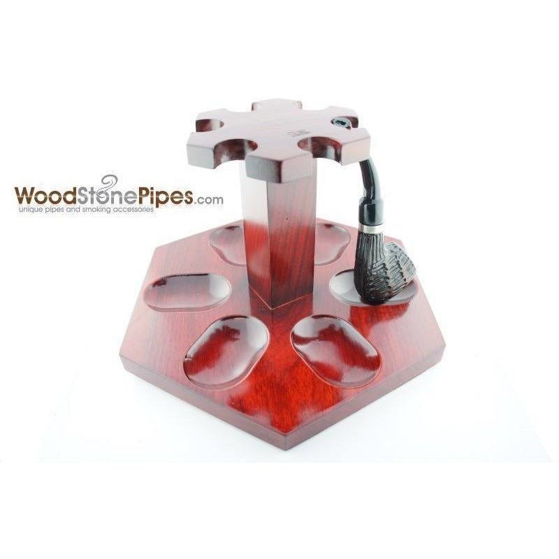 "9""x5"" Rosewood Pipe Stand (Holds six pipes) - WoodStonePipes.com   - 1"