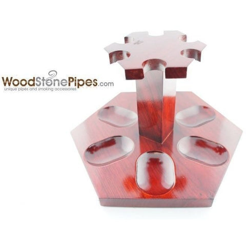 "9""x5"" Rosewood Pipe Stand (Holds six pipes) - WoodStonePipes.com   - 3"