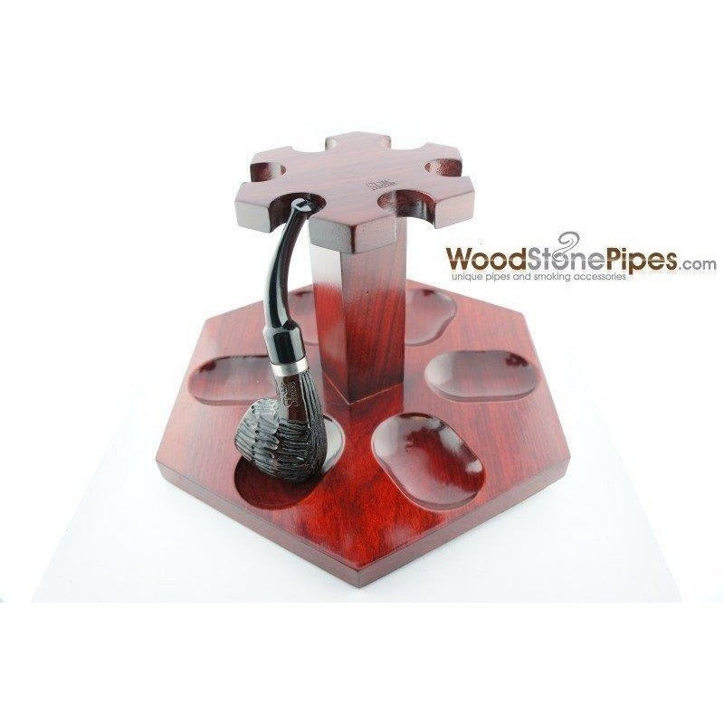 "9""x5"" Rosewood Pipe Stand (Holds six pipes) - WoodStonePipes.com   - 4"