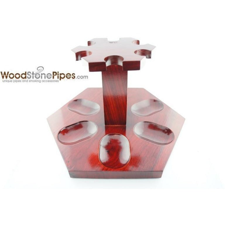 "9""x5"" Rosewood Pipe Stand (Holds six pipes) - WoodStonePipes.com   - 5"