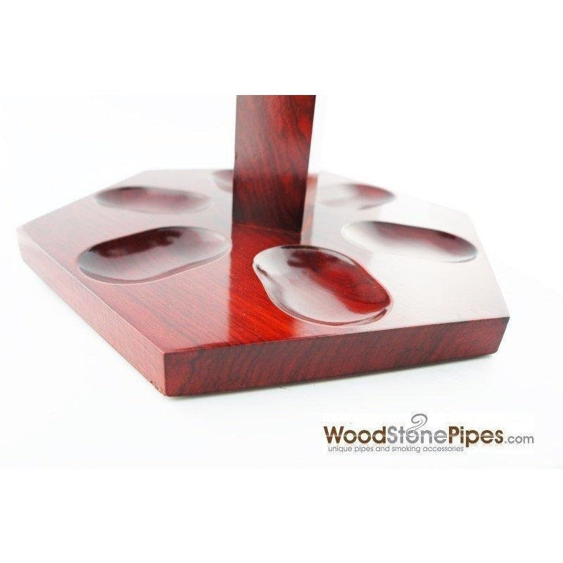 "9""x5"" Rosewood Pipe Stand (Holds six pipes) - WoodStonePipes.com   - 6"