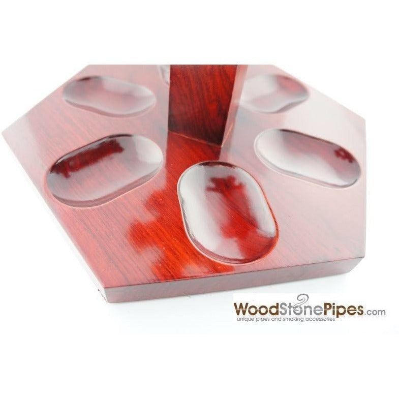 "9""x5"" Rosewood Pipe Stand (Holds six pipes) - WoodStonePipes.com   - 7"