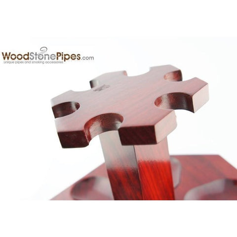"9""x5"" Rosewood Pipe Stand (Holds six pipes) - WoodStonePipes.com   - 8"