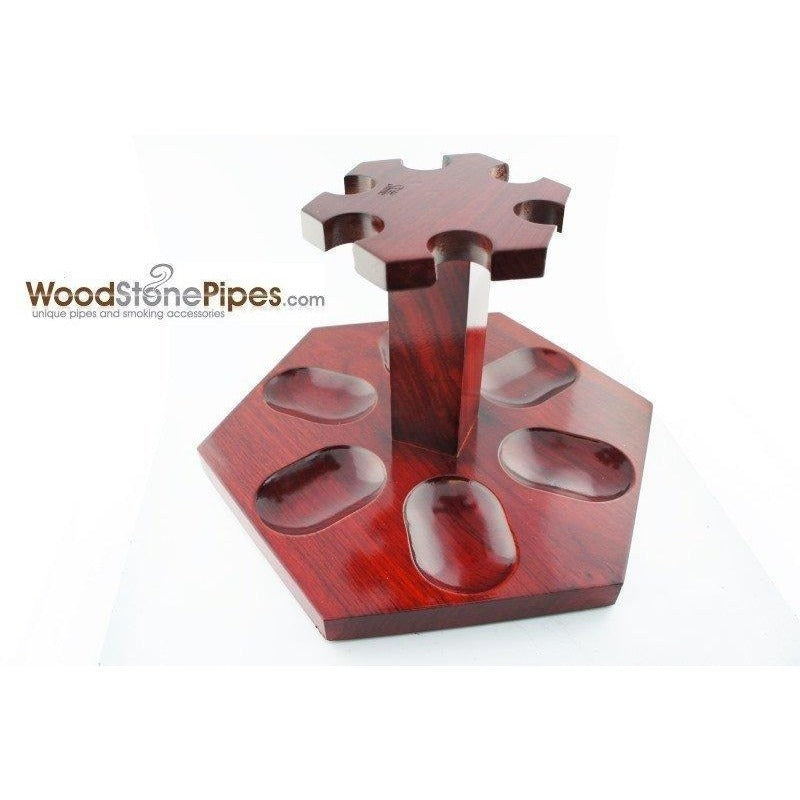"9""x5"" Rosewood Pipe Stand (Holds six pipes) - WoodStonePipes.com   - 9"