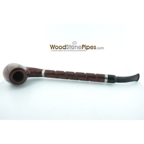 "Bent Brandy Rosewood Tobacco Pipe - with Long Spiral Shank - 10.5"" - WoodStonePipes.com   - 10"