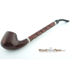 "Bent Brandy Rosewood Tobacco Pipe - with Long Spiral Shank - 10.5"" - WoodStonePipes.com   - 12"