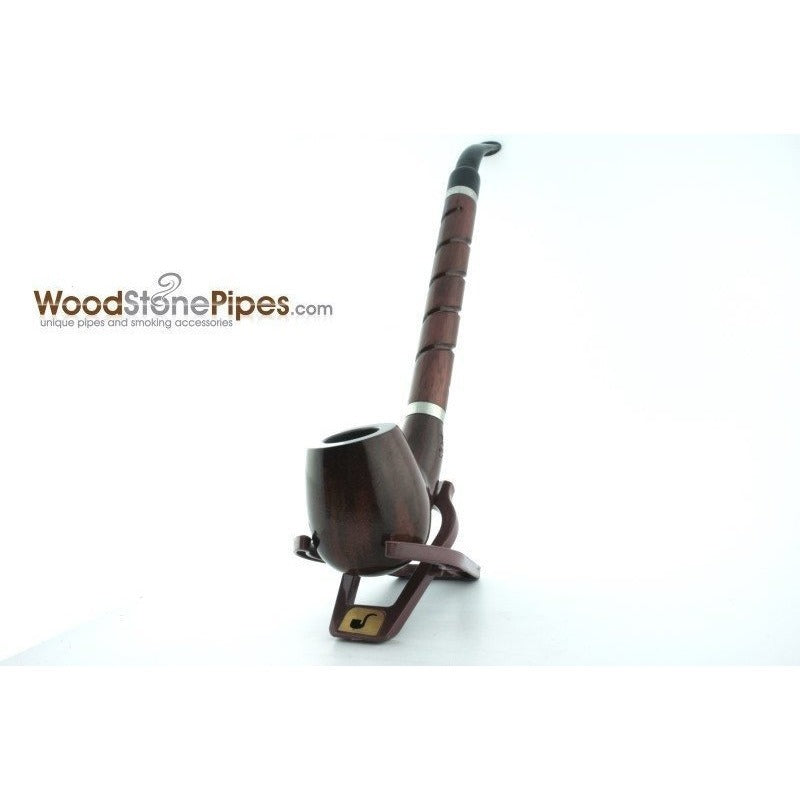 "Bent Brandy Rosewood Tobacco Pipe - with Long Spiral Shank - 10.5"" - WoodStonePipes.com   - 13"