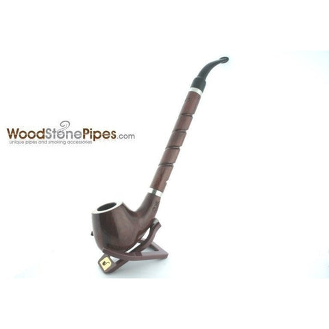 "Bent Brandy Rosewood Tobacco Pipe - with Long Spiral Shank - 10.5"" - WoodStonePipes.com   - 2"