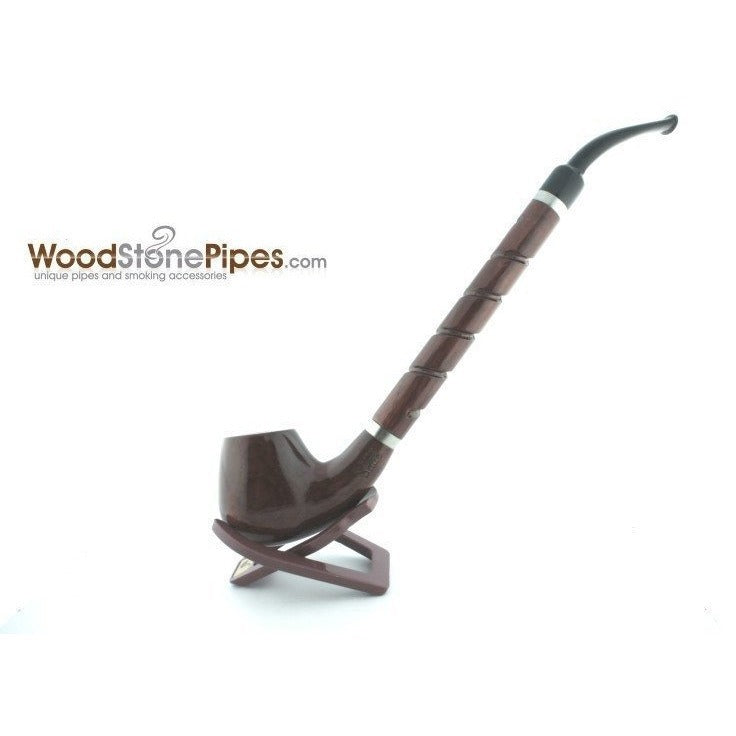 "Bent Brandy Rosewood Tobacco Pipe - with Long Spiral Shank - 10.5"" - WoodStonePipes.com   - 4"