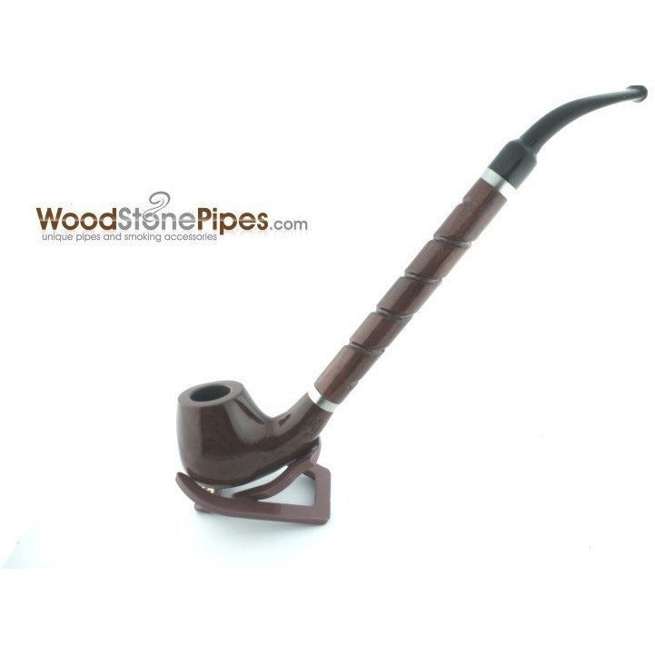 "Bent Brandy Rosewood Tobacco Pipe - with Long Spiral Shank - 10.5"" - WoodStonePipes.com   - 5"
