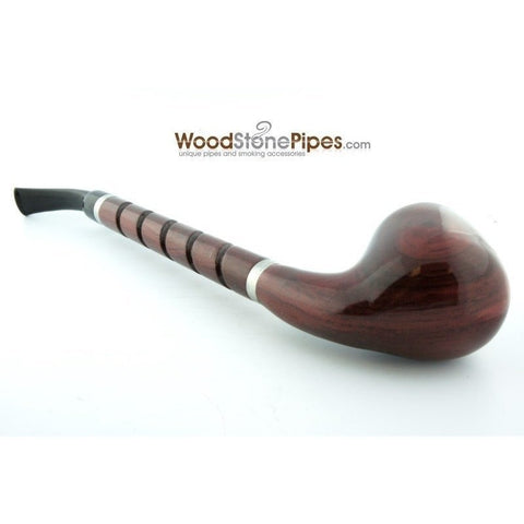 "Bent Brandy Rosewood Tobacco Pipe - with Long Spiral Shank - 10.5"" - WoodStonePipes.com   - 8"
