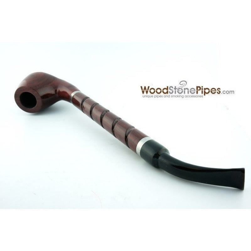 "Bent Brandy Rosewood Tobacco Pipe - with Long Spiral Shank - 10.5"" - WoodStonePipes.com   - 9"