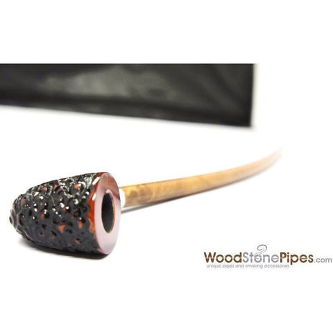 "Curved Stem Churchwarden Style Long Tobacco Smoking Pipe - 15"" - WoodStonePipes.com   - 2"