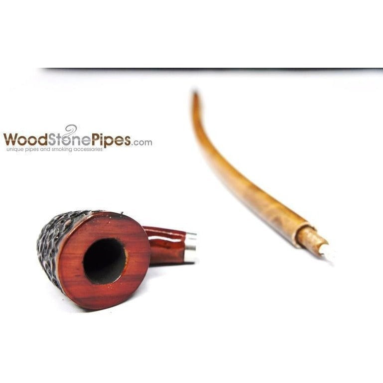"Curved Stem Churchwarden Style Long Tobacco Smoking Pipe - 15"" - WoodStonePipes.com   - 4"