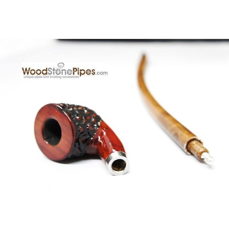 "Curved Stem Churchwarden Style Long Tobacco Smoking Pipe - 15"" - WoodStonePipes.com   - 5"
