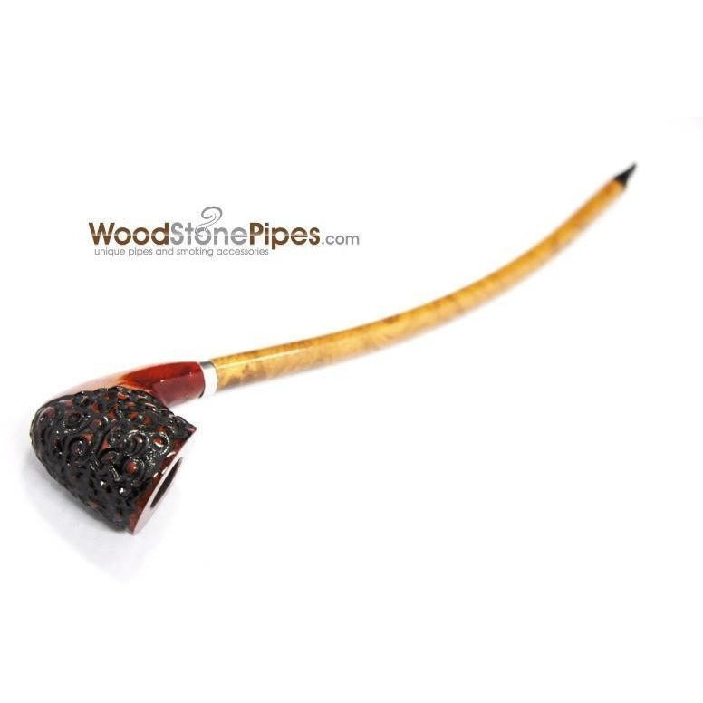 "Curved Stem Churchwarden Style Long Tobacco Smoking Pipe - 15"" - WoodStonePipes.com   - 6"