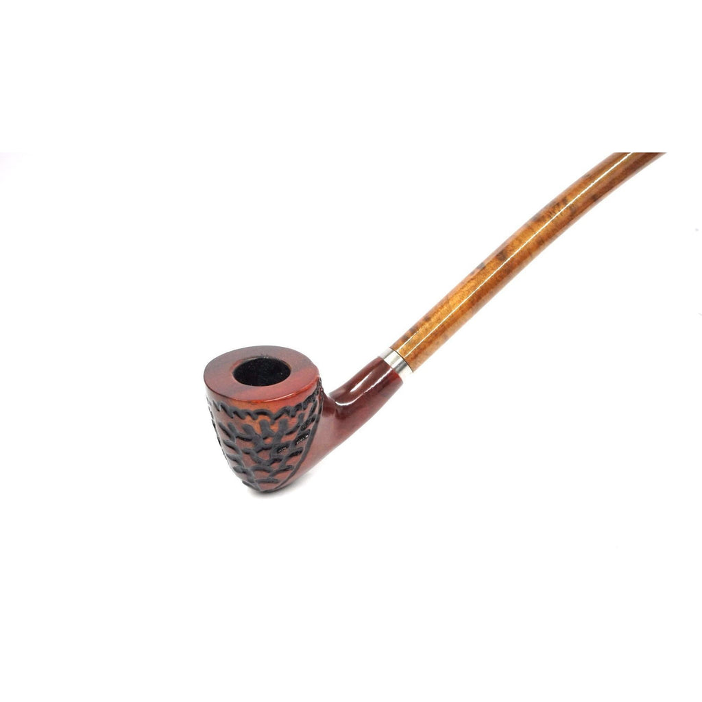 "Curved Stem Churchwarden Style Long Tobacco Smoking Pipe - 15"" - WoodStonePipes.com   - 7"