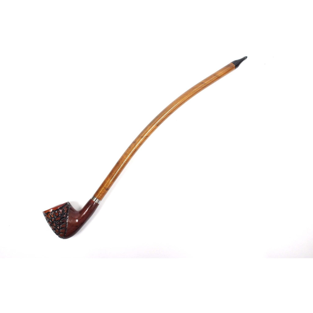 "Curved Stem Churchwarden Style Long Tobacco Smoking Pipe - 15"" - WoodStonePipes.com   - 8"