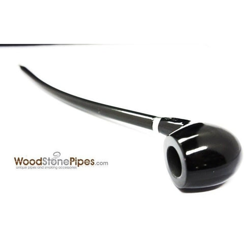 "Curved Stem Long Tobacco Pipe - Black - 15"" - WoodStonePipes.com   - 3"