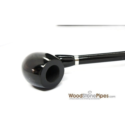 "Curved Stem Long Tobacco Pipe - Black - 15"" - WoodStonePipes.com   - 5"
