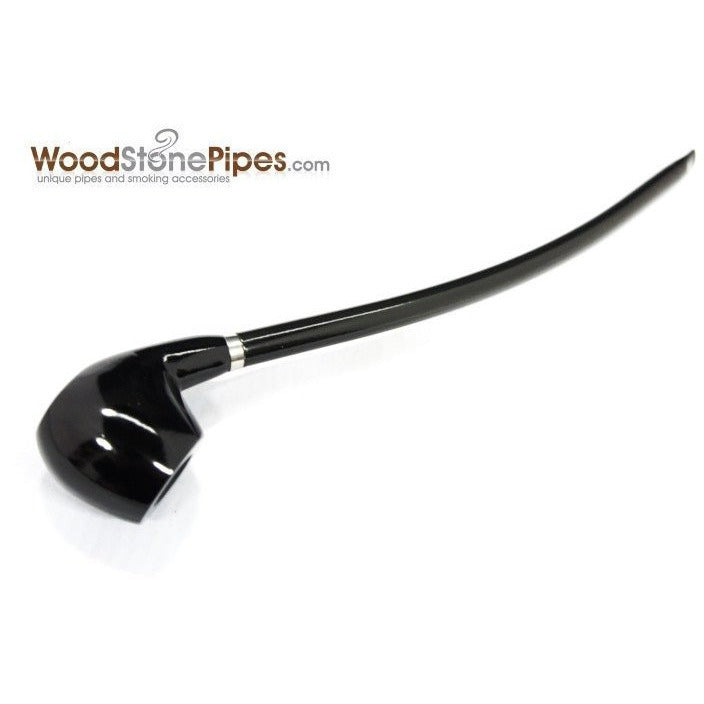 "Curved Stem Long Tobacco Pipe - Black - 15"" - WoodStonePipes.com   - 1"