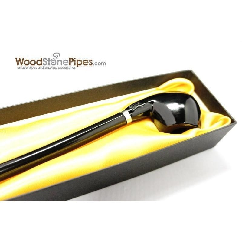 "Curved Stem Long Tobacco Pipe - Black - 15"" - WoodStonePipes.com   - 6"
