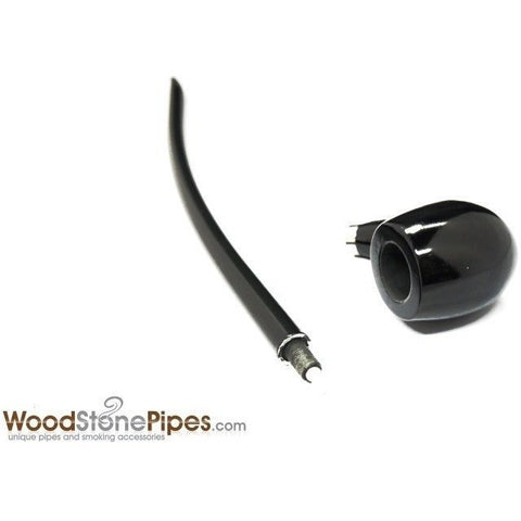 "Curved Stem Long Tobacco Pipe - Black - 15"" - WoodStonePipes.com   - 8"