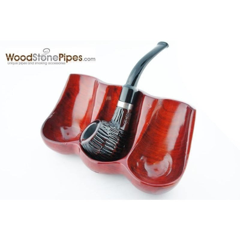 Decorative Rosewood Pipe Stand - Holds three pipes - WoodStonePipes.com   - 1